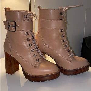 Urban Outfitters Kennedy Pink Heeled Lace Up Boot